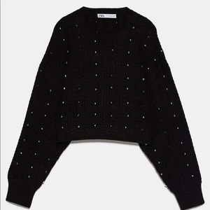 Zara studded cable knit sweater
